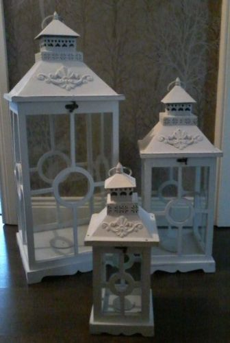 Square White Lanterns (Set of 3)